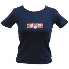 Tričko, tmavě modré NAVY s potiskem sakury