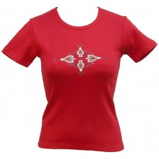 Tričko, červené s potiskem ornamentu