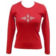 Tričko, červené, dlouhý rukáv, s potiskem ornamentu