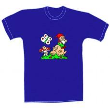 Tričko, royal blue, s potiskem šneka
