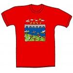 """Tričko, červené, s potiskem """"vosy z kampy"""""""