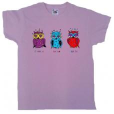 Tričko, růžové, s potiskem soviček